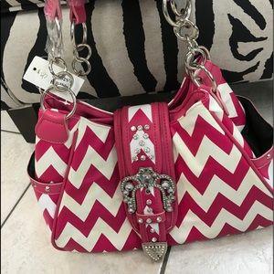 Handbags - Hot pink & white chevron Womens purse